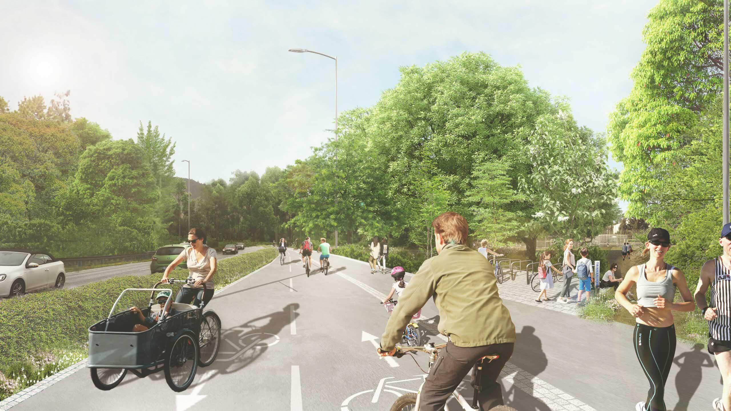 Abtrennungsbild mit Personen die auf dem Radweg fahren